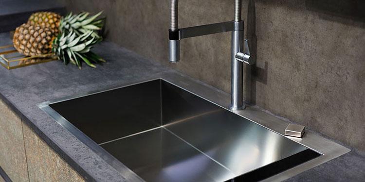 concrete worktop in kitchen