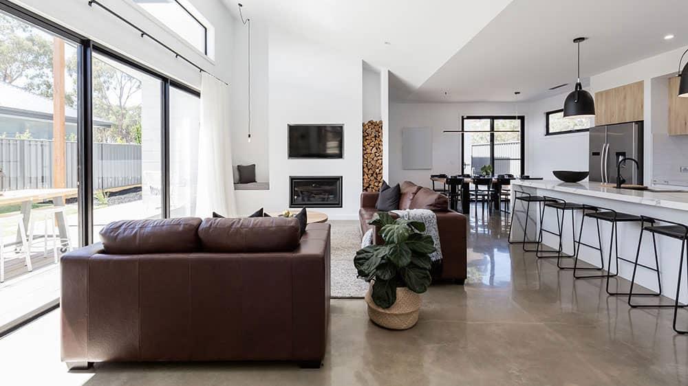 living room polished concrete