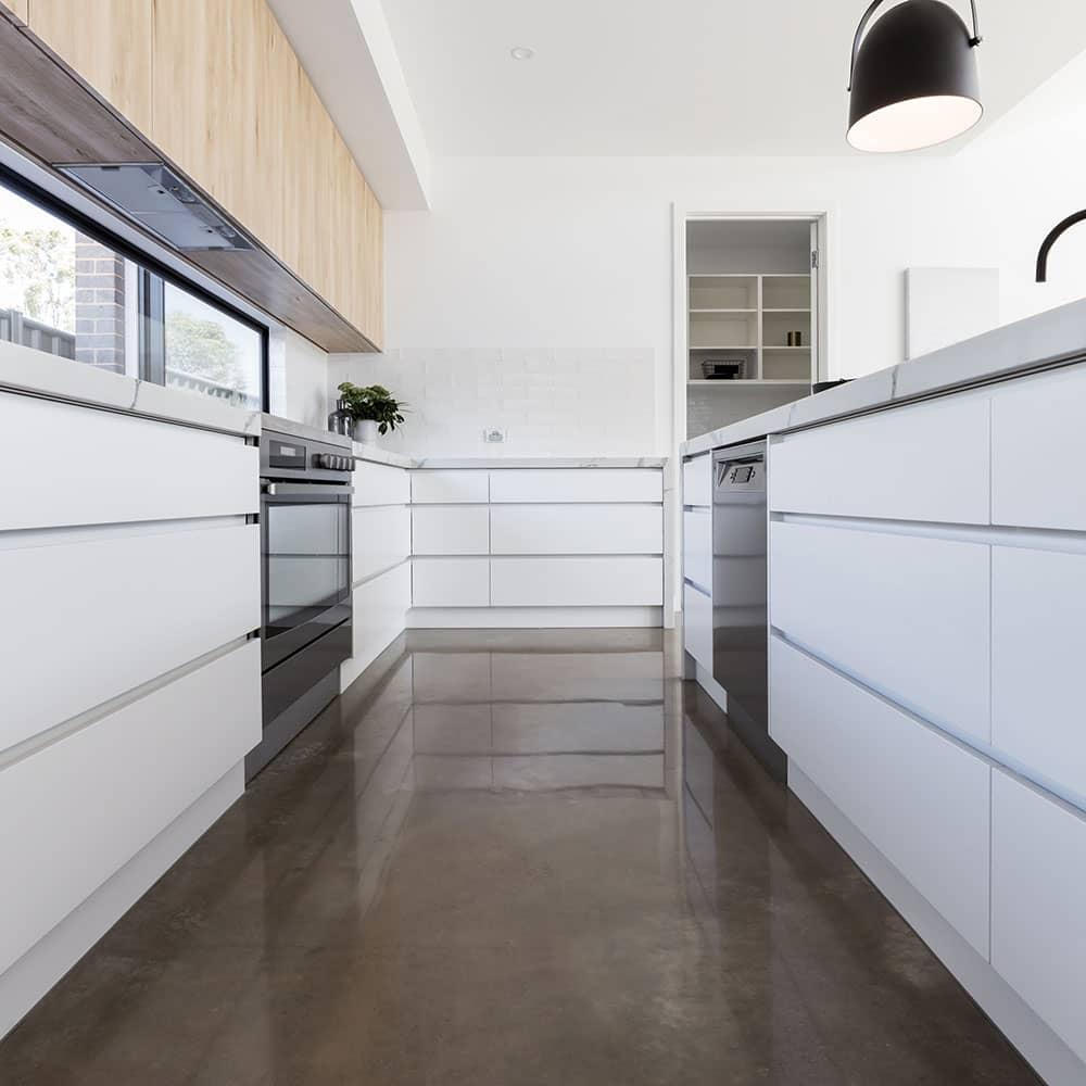 kitchen polished concrete floor